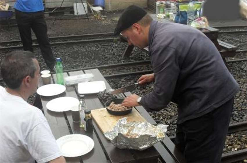 Loco Cooking Duck being plated up after cooking in smokebox